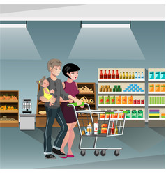 Family shopping with cart vector