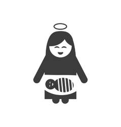 Flat icon in black and white style virgin mary vector