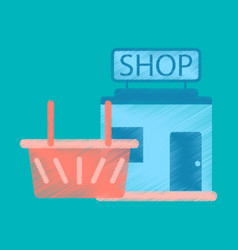 Flat icon in shading style shop basket vector