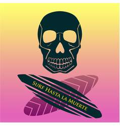 for a cool surfing skull in flat style vector image