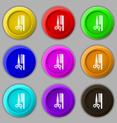 Hair icon sign symbol on nine round colourful vector