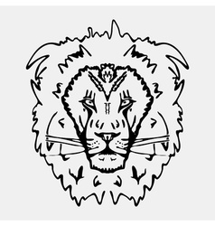 Hand-drawn pencil graphics lion head engraving vector