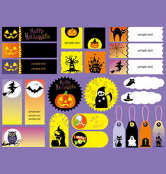 Happy halloween index card set vector