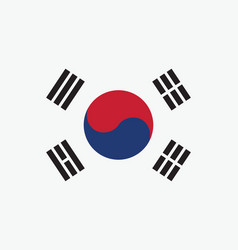 Korea south flag for independence day and vector