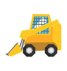 Mini bulldozer with protected windows skid loader vector