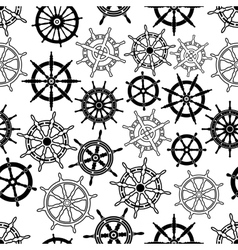 Nautical navigation ships helms seamless pattern vector image vector image