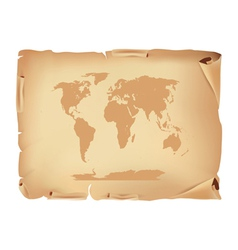 old parchment with world map vector image vector image