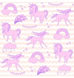 Pink unicorns with stars on a white and beige vector image vector image