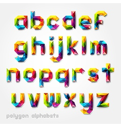 Polygon alphabet colorful font style vector
