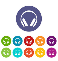 Protective headphones set icons vector