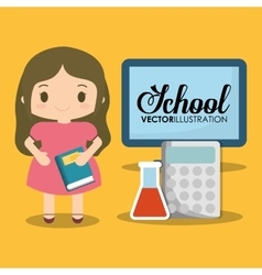 School girl computer calculator test tube vector