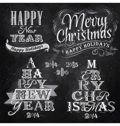 Set Merry Christmas Happy chalk vector image vector image