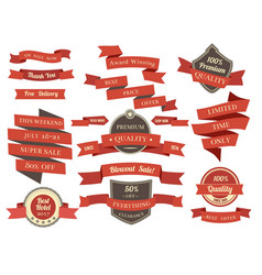 Shopping banners and ribbons with promotion text vector