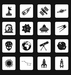 Space icons set squares vector