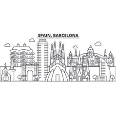 Spain barcelona architecture line skyline vector