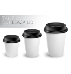 Take away paper cup black cap vector image vector image