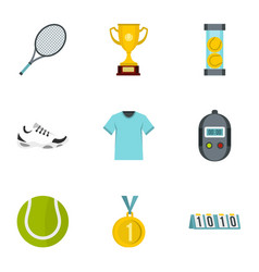 tennis attributes icons set flat style vector image vector image