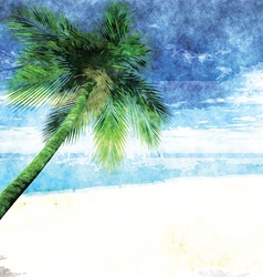 Watercolor palm tree on beach 2701 vector