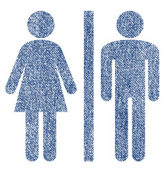 Wc persons fabric textured icon vector