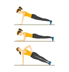 Woman making right plank position vector