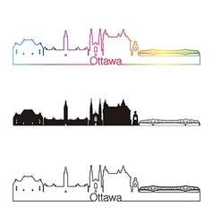Ottawa V2 skyline linear style with rainbow vector image