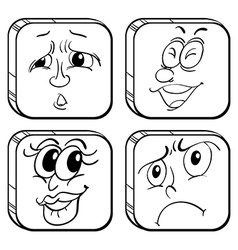 Doodle designs of faces in a cube vector