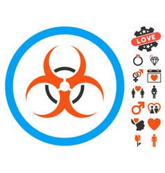 Bio hazard icon with valentine bonus vector