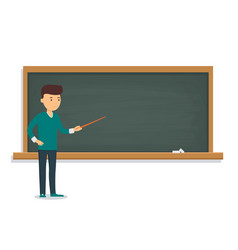 young student is standing near the training board vector image
