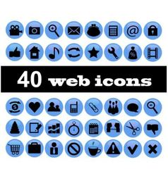 40 web icons vector