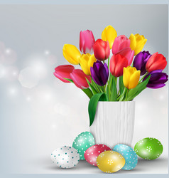 Easter background with colorful eggs and tulips vector