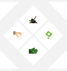 Flat icon seed set of glove packet soil and vector