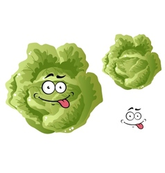 Green funny cabbage vegetable vector