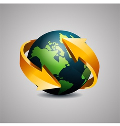 Globe with arrow vector
