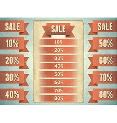 Set of sale ribbons with percents vector image