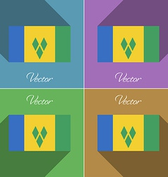 Flags saint vincent grenadines set of colors flat vector