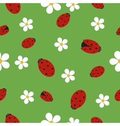 Seamless texture with ladybugs vector