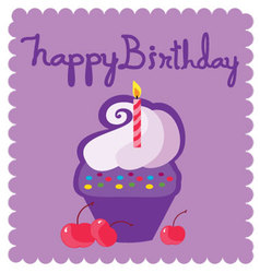 Happy birthday letters and cupcakes vector