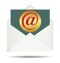 Red email sign on gold plate and opened white vector