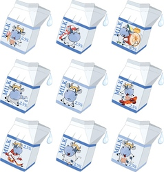 Milk packing with the drawn cow vector