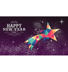 Happy new year 2016 star triangle hipster color vector