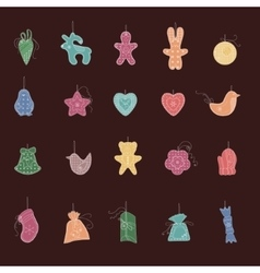 Set of different christmas decorations simple vector