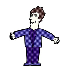 Comic cartoon vampire man with open arms vector