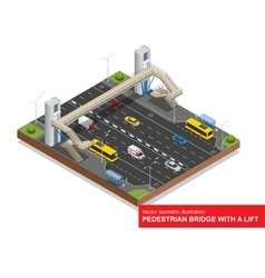 Isometric pedestrian bridge with a lift over the vector