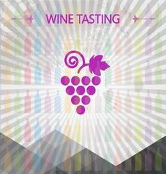 Wine tasting card big grape sign vector image