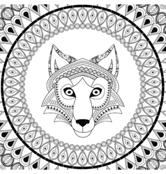 Wolf icon animal and ornamental predator design vector