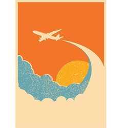 Airplane flying in sky background vector