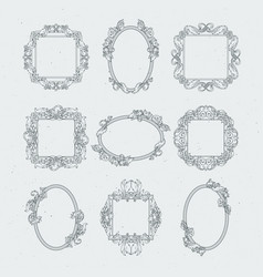 Antique victorian picture frames set in vector