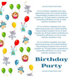 Birthday party poster or invitation with cute vector