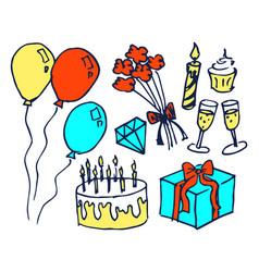 birthday set of hand drawn vector image vector image
