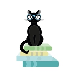 Books and black cat vector
